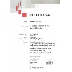 Zertifikat Telenot